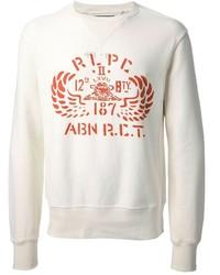 Jersey con cuello circular estampado en blanco y rojo de Polo Ralph Lauren