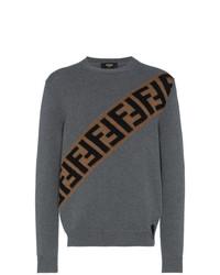 Jersey con cuello circular estampado en gris oscuro de Fendi