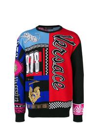Jersey con cuello circular estampado en multicolor de Versace