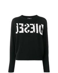 Jersey con cuello circular estampado en negro y blanco de Diesel