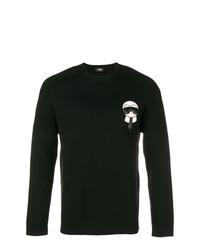Jersey con cuello circular estampado en negro y blanco de Fendi