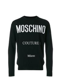 Jersey con cuello circular estampado en negro y blanco de Moschino