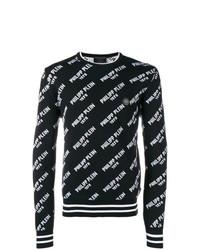 Jersey con cuello circular estampado en negro y blanco de Philipp Plein