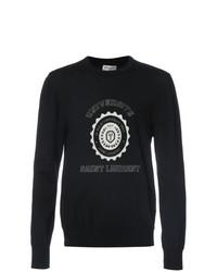 Jersey con cuello circular estampado en negro y blanco de Saint Laurent
