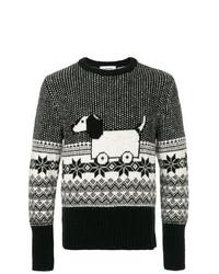 Jersey con cuello circular estampado en negro y blanco de Thom Browne