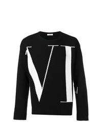 Jersey con cuello circular estampado en negro y blanco de Valentino