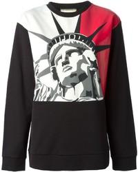 Jersey con cuello circular estampado en rojo y negro