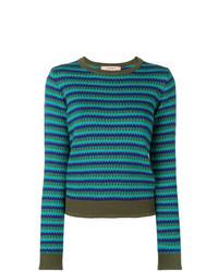Jersey con cuello circular estampado en verde azulado de Twin-Set