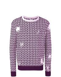 Jersey con cuello circular estampado en violeta
