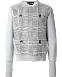 Jersey con cuello circular estampado gris de Alexander McQueen