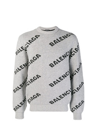 Jersey con cuello circular estampado gris de Balenciaga