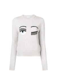 Jersey con cuello circular estampado gris de Chiara Ferragni