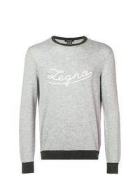 Jersey con cuello circular estampado gris de Ermenegildo Zegna
