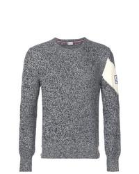 Jersey con cuello circular estampado gris de Moncler