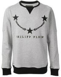 Jersey con cuello circular estampado gris de Philipp Plein