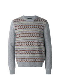 Jersey con cuello circular estampado gris de Prada