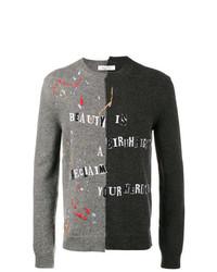 Jersey con cuello circular estampado gris de Valentino