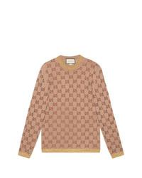 Jersey con cuello circular estampado marrón claro de Gucci