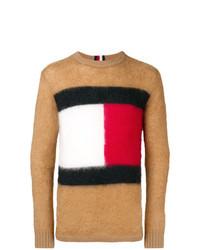 Jersey con cuello circular estampado marrón claro de Hilfiger Collection