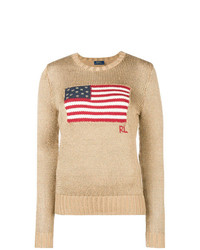 Jersey con cuello circular estampado marrón claro de Polo Ralph Lauren