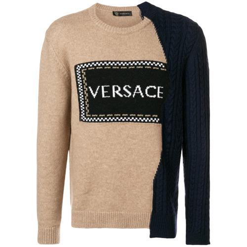 Jersey con cuello circular estampado marrón claro de Versace