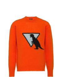 Jersey con cuello circular estampado naranja de Prada
