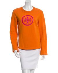 Jersey con Cuello Circular Estampado Naranja de Tory Burch