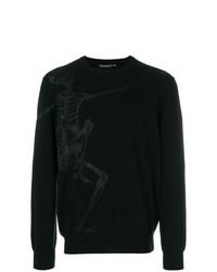 Jersey con cuello circular estampado negro de Alexander McQueen