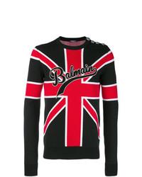 Jersey con cuello circular estampado negro de Balmain