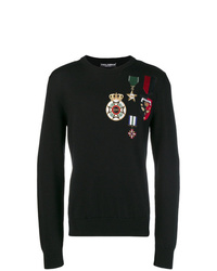 Jersey con cuello circular estampado negro de Dolce & Gabbana
