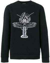 Jersey con cuello circular estampado negro de Lanvin