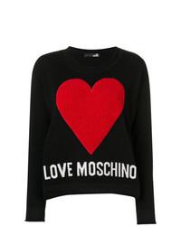 Jersey con cuello circular estampado negro de Love Moschino