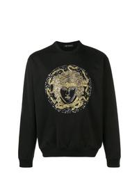 Jersey con cuello circular estampado negro de Versace