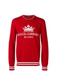 Jersey con cuello circular estampado rojo de Dolce & Gabbana