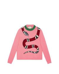Jersey con cuello circular estampado rosado de Gucci