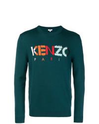 Jersey con cuello circular estampado verde oscuro de Kenzo