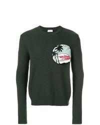 Jersey con cuello circular estampado verde oscuro de Saint Laurent