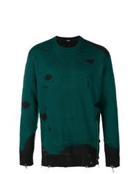 Jersey con cuello circular estampado verde de Diesel