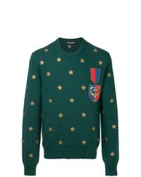 Jersey con cuello circular estampado verde de Dolce & Gabbana