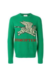 Jersey con cuello circular estampado verde de Gucci