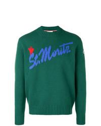 Jersey con cuello circular estampado verde de Moncler