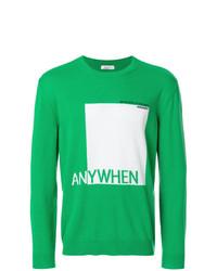 Jersey con cuello circular estampado verde de Valentino