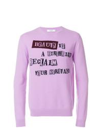 Jersey con cuello circular estampado violeta claro de Valentino