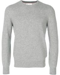 Jersey con cuello circular gris de Brunello Cucinelli
