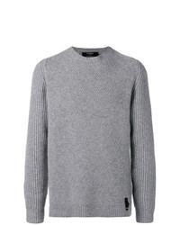 Jersey con cuello circular gris de Fendi