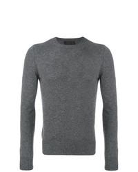 Jersey con cuello circular gris de Prada