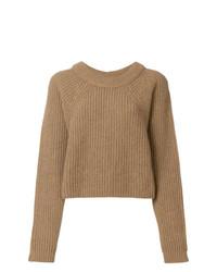 Jersey con cuello circular marrón claro de Lemaire