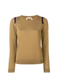 Jersey con cuello circular marrón claro de N°21