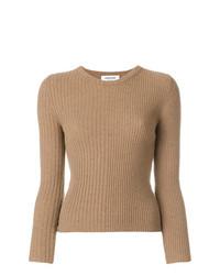 Jersey con cuello circular marrón claro de Thom Browne