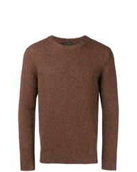 Jersey con cuello circular marrón de Dell'oglio